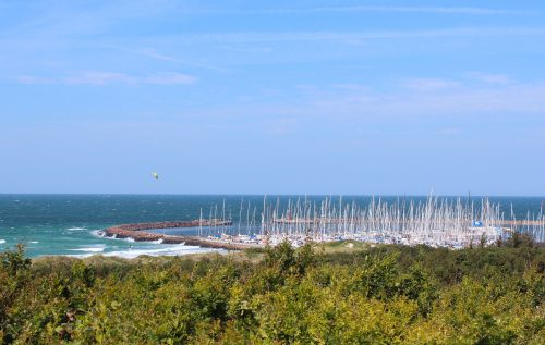 marine island anholt denmark bushes masts blue sky summer