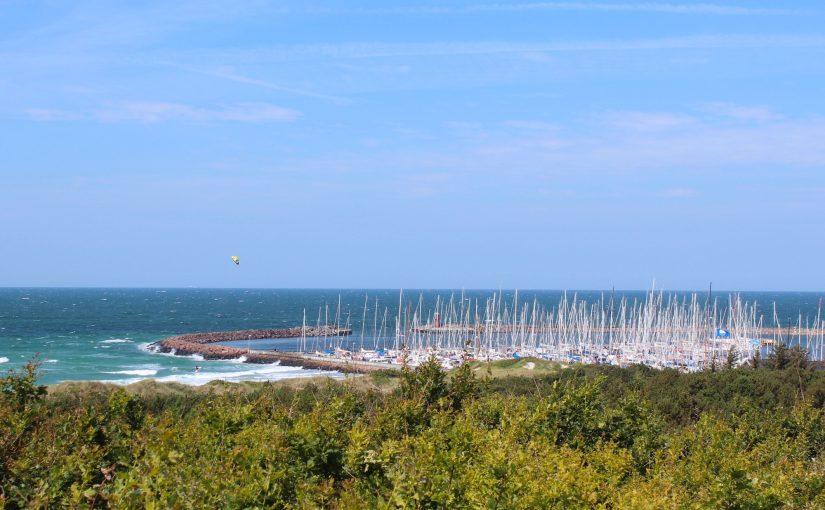 marina island anholt denmark bushes masts blue sky summer