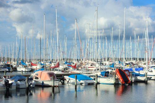 boats marina masts water summer kerteminde denmark