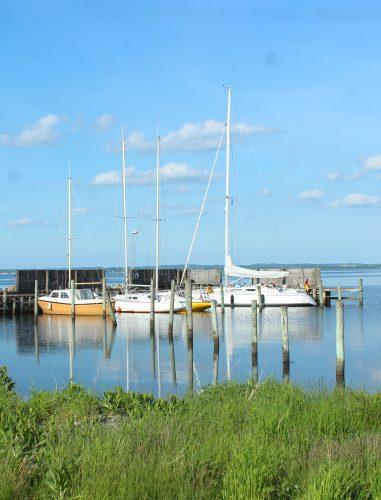 avernakø denmark boats water blue sky coast
