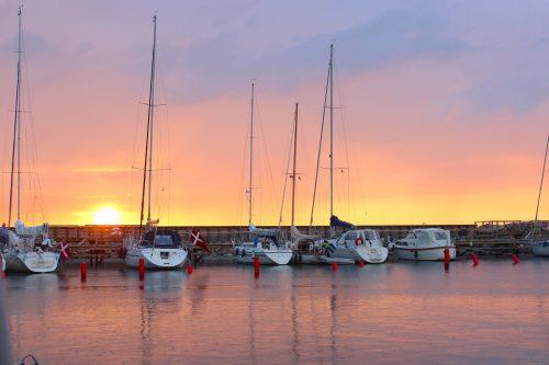 Hornbaek Denmark coast harbour boats sky boatingthebaltic.com